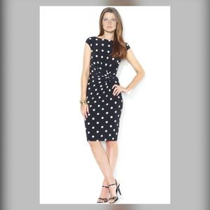 Ralph Lauren Stretch Midi Dress Black Polka Dot